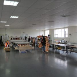 Part of the workshop for processing of textile products of acrylic