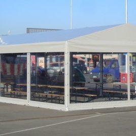 Стационарна конструкция покрита с PVC брезент и затворена със стационарни пана